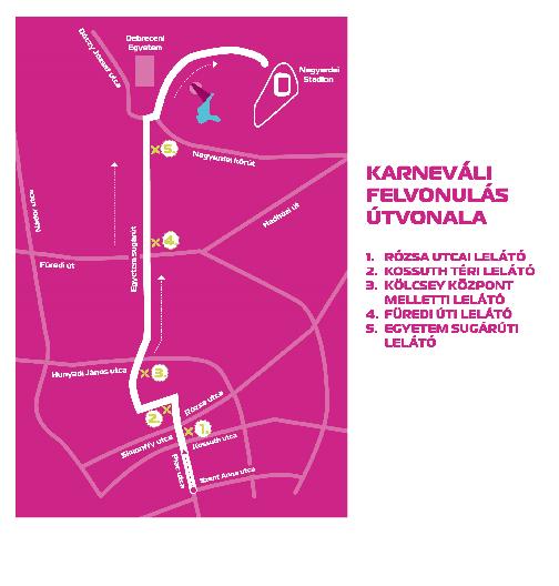 Debreceni virágkarnevál útvonala